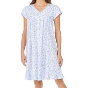 NWT! Eileen West Cotton Lace-Trim Floral Nightgown